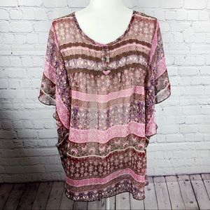 Maurices Purple & Pink Lace Chest Flowy Blouse